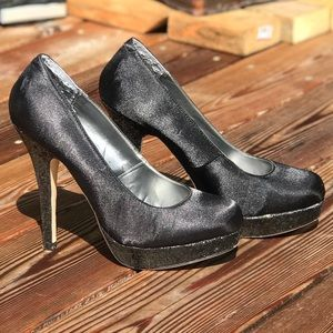 Black satin with glitter heel and platform